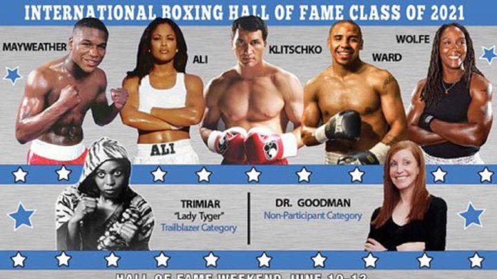 Cartel promocional con el que el Salón de la Fama del Boxeo ha anunciado la entrada de Floyd Mayweather, Laila Ali o Wladimir Klitschko entre otros.