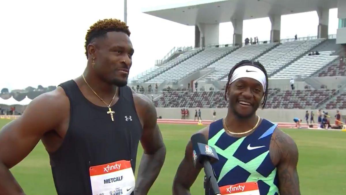 DK Metcalf, receptor de la NFL, 104 kilos... y 10.36 en 100 metros