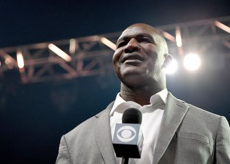 Evander Holyfield speaks during the Muhammad Ali tribute in Louisville, Kentucky.