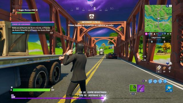 fortnite capitulo 2 temporada 1 desafios caos en ascenso desafio baila en el puente de acero verde el puente de acero amarillo y el puente de acero rojo