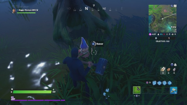 fortnite chapter 2 season 1 challenges soft vs viscous challenge find the gnomes hidden among sawmill quagmire a wooden shack and a tree with the shape of a cube