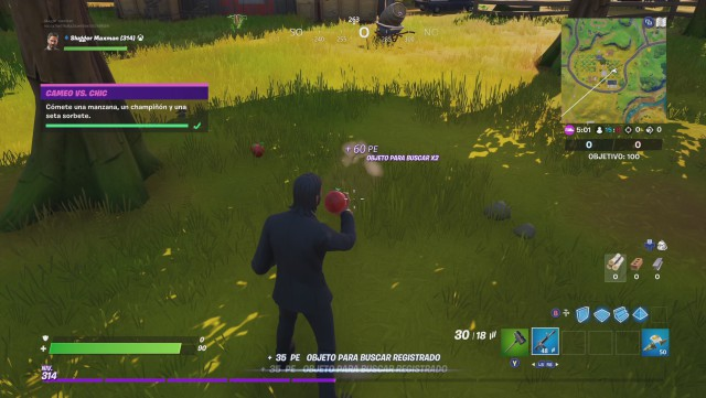 fortnite chapter 2 season 1 challenges cameo vs chic challenge commits an apple a champiñon and a mushroom sorbet