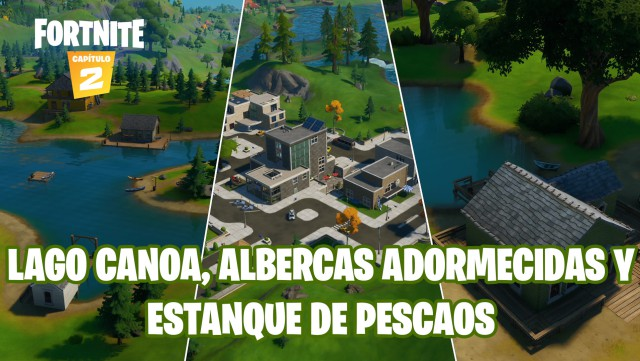 fortnite chapter 2 season 1 challenges cameo vs chic challenge fishing a fish in lake, canoe pools are dormant and pond pescaos