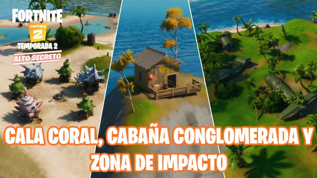 fortnite chapter 2 season 2 challenges antics of miausculos challenge visit cala coral cottage conglomerate and the impact zone without swimming in the same game