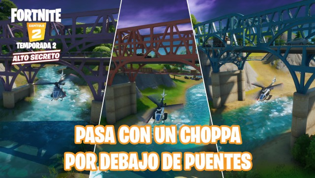 fortnite chapter 2 season 2 challenges adventure of skye defy fly a choppa under the steel bridge, purple red and blue