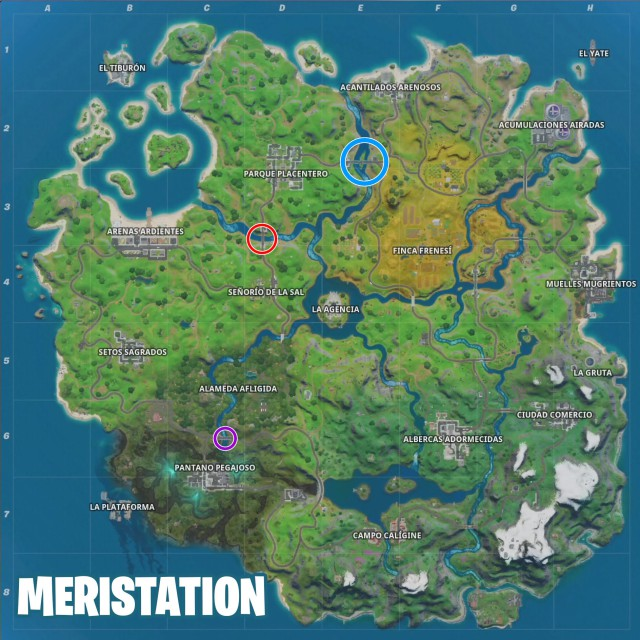 fortnite chapter 2 season 2 challenges adventure of skye defy fly a choppa under the steel bridge, purple red and blue map