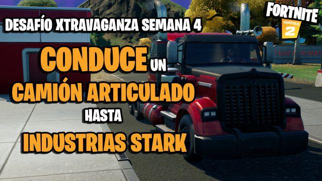 fortnite capitulo 2 temporada 4 desafios semana 14 xtravaganza semana 4 desafio lleva un camion articulado desde las afueras del norte de nueva york hasta industrias stark
