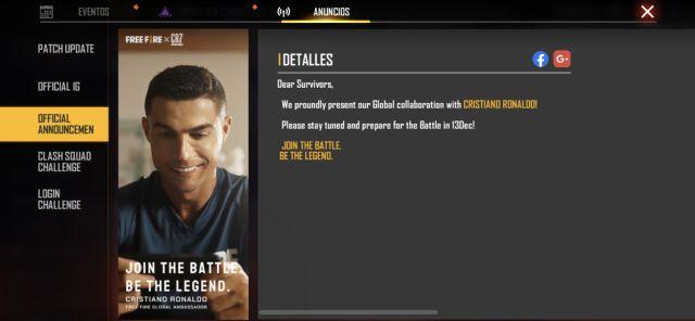 Free Fire Cristiano Ronaldo colaboración personaje jugable confirmado operación chrono