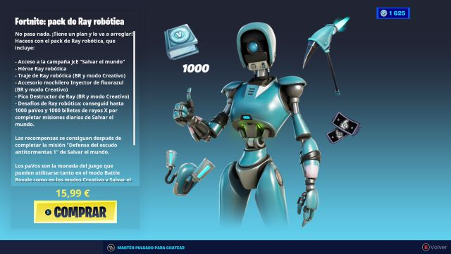 fortnite capitulo 2 temporada 6 pack ray robotica salvar el mundo