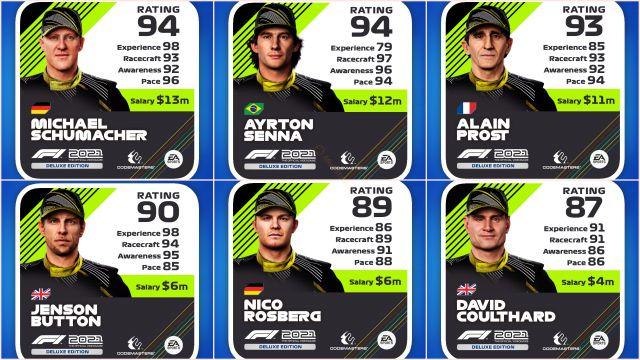 F1 2021 portada elegida pilotos estadísticas ps5 ps4 xbox pc