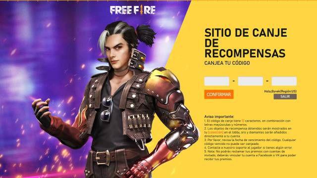 Free Fire códigos recompensas gratis 6 agosto canjear skins armas móviles iOS Android Garena