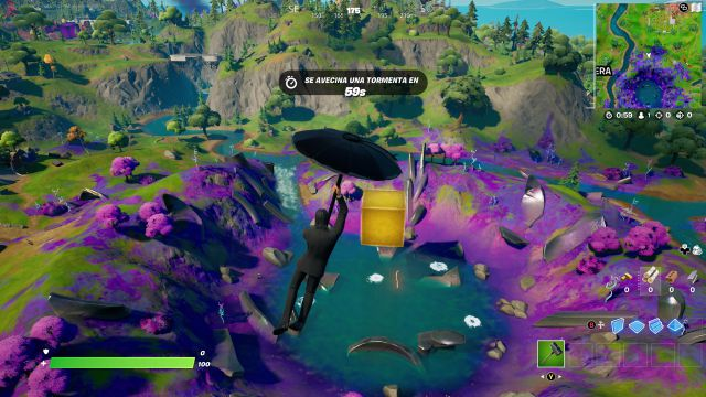 fortnite chapter 2 season 8 golden cube yellow cube the cataclysm center island