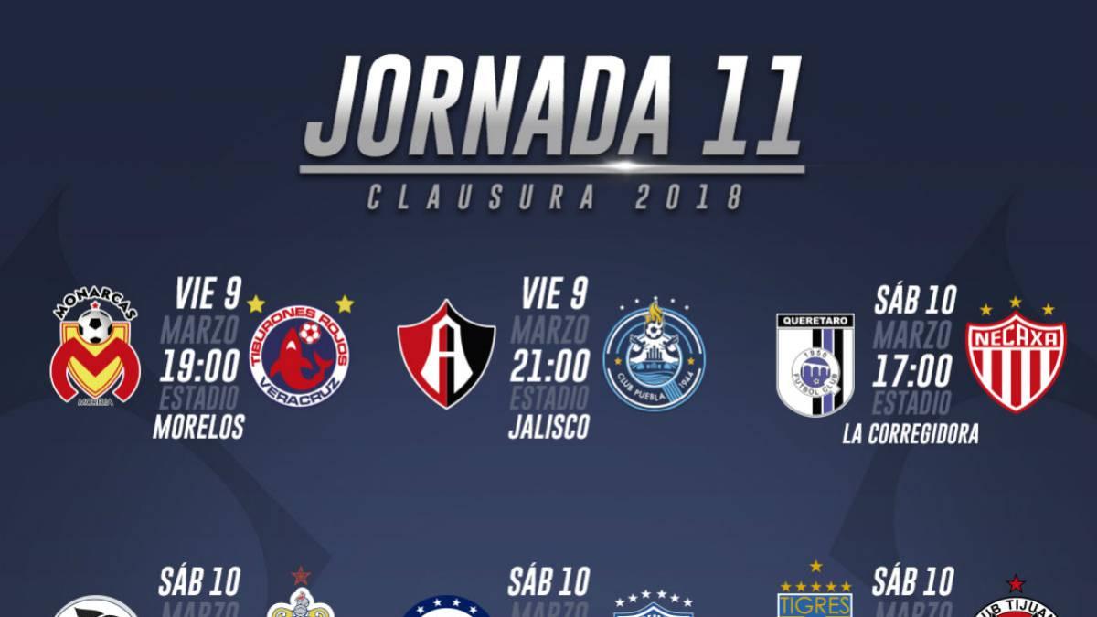 Fechas y horarios de la jornada 11 del Clausura 2018 de la Liga MX ... 070becf74ded8