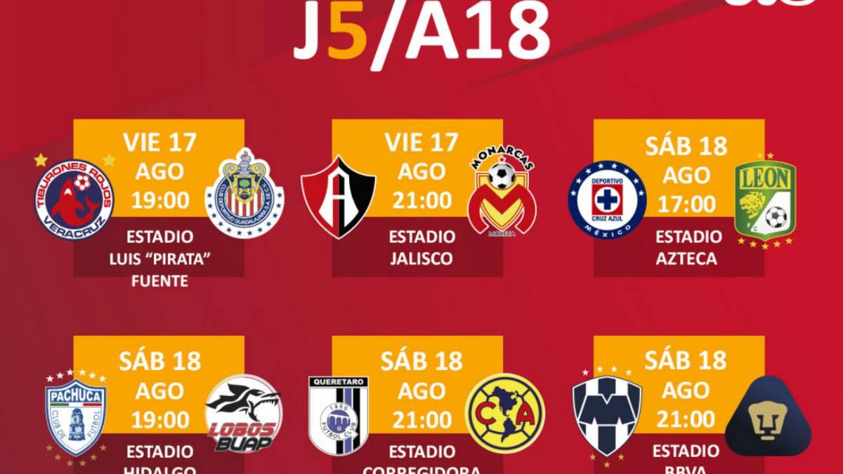 Fechas y horarios de la jornada 5 del Apertura 2018 de la Liga MX ... 7856f61c0e85f