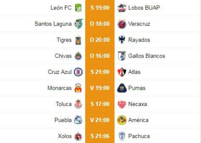 Fechas y horarios de la jornada 10 del Apertura 2018 de la Liga MX