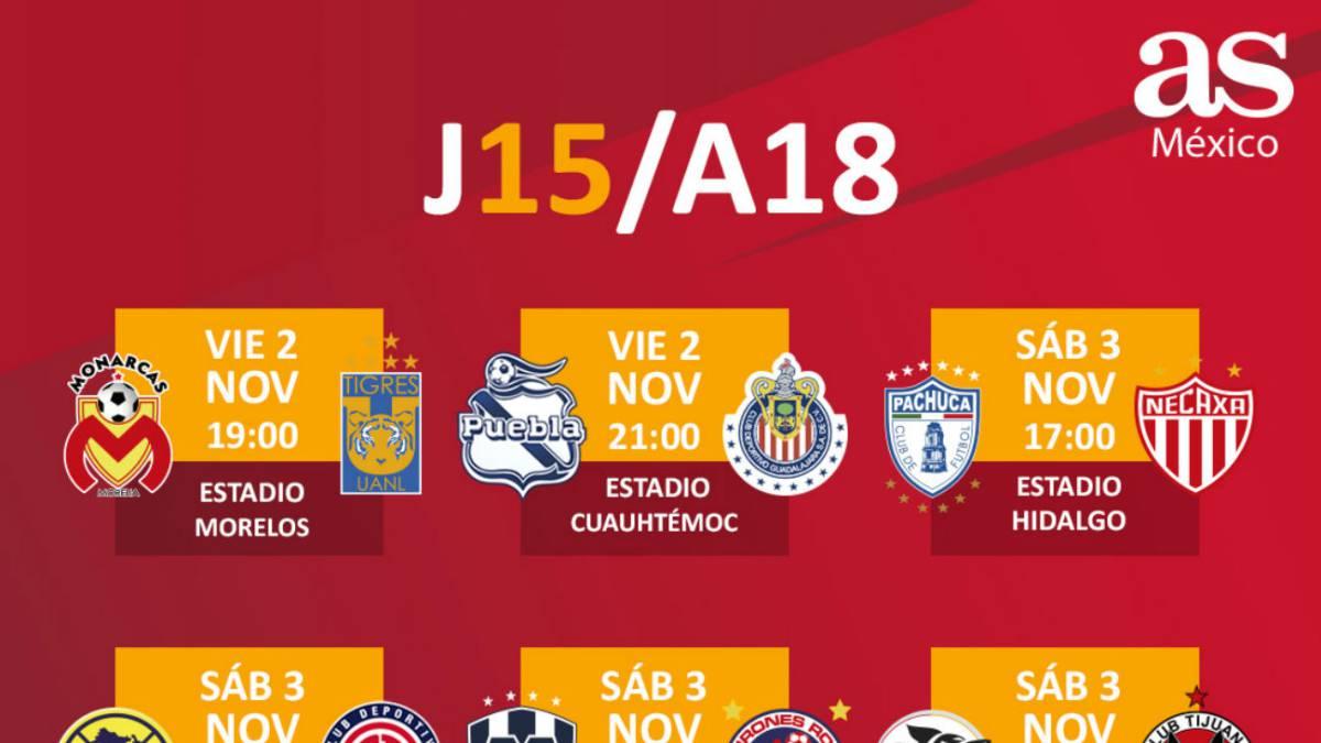 Fechas y horarios de la jornada 15 del Apertura 2018 de la Liga MX ... 989c6936b4dc7