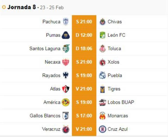 Liga Bbva Calendario Y Resultados.Fechas Y Horarios De La Jornada 8 Del Clausura 2019 De La Liga Mx