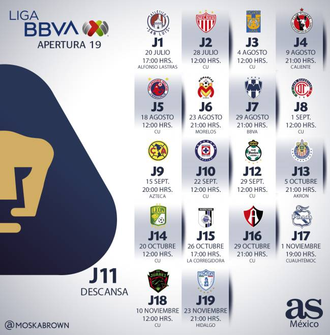 Liga Bbva Calendario 2019.Pumas Calendario Y Partidos Del Apertura 2019 As Mexico