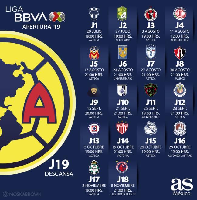 Liga Bbva Calendario 2019.Fechas Y Partidos Del America Para El Apertura 2019 As Mexico