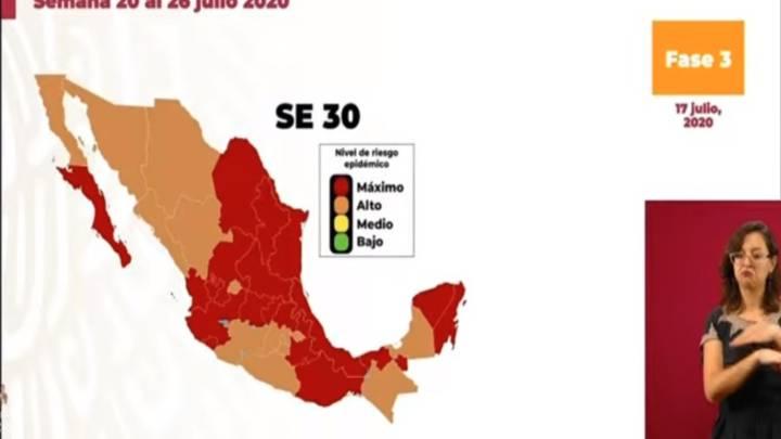 Mapa de México del semáforo epidemiológico del 20 al 26 de julio ...