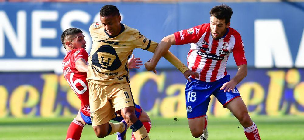 Pumas vence a Atlético San Luis y respira en la tabla, Dinenno marcó el único gol del juego