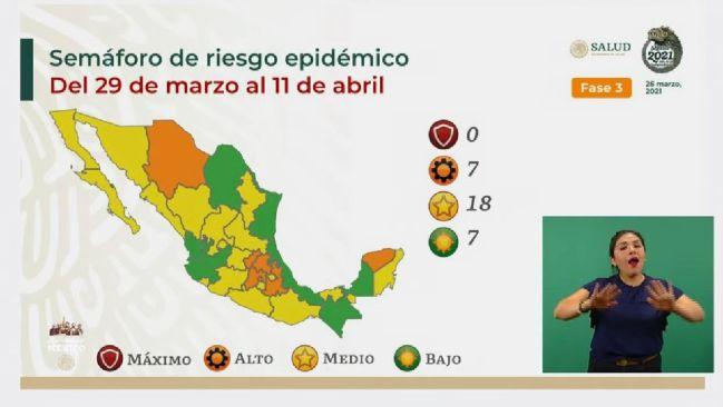 Mapa del semáforo epidemiológico en México del 29 marzo al 11 de abril - AS  México