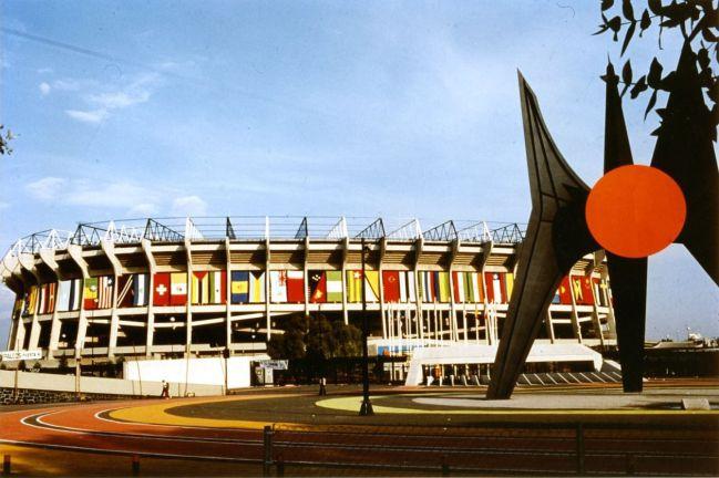 La explanada del Estadio Azteca durante el Mundial México '86