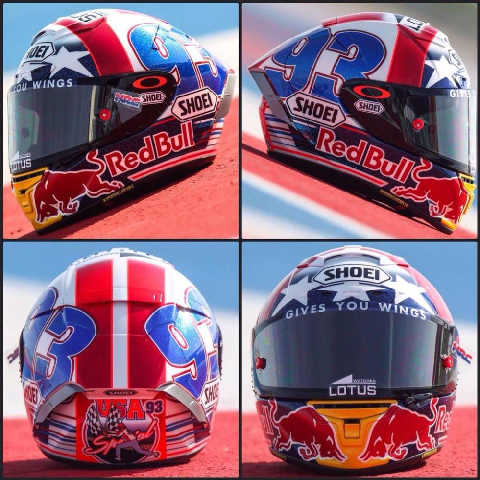 MotoGP | Márquez colorea su casco de Austin con la bandera de EEUU ...