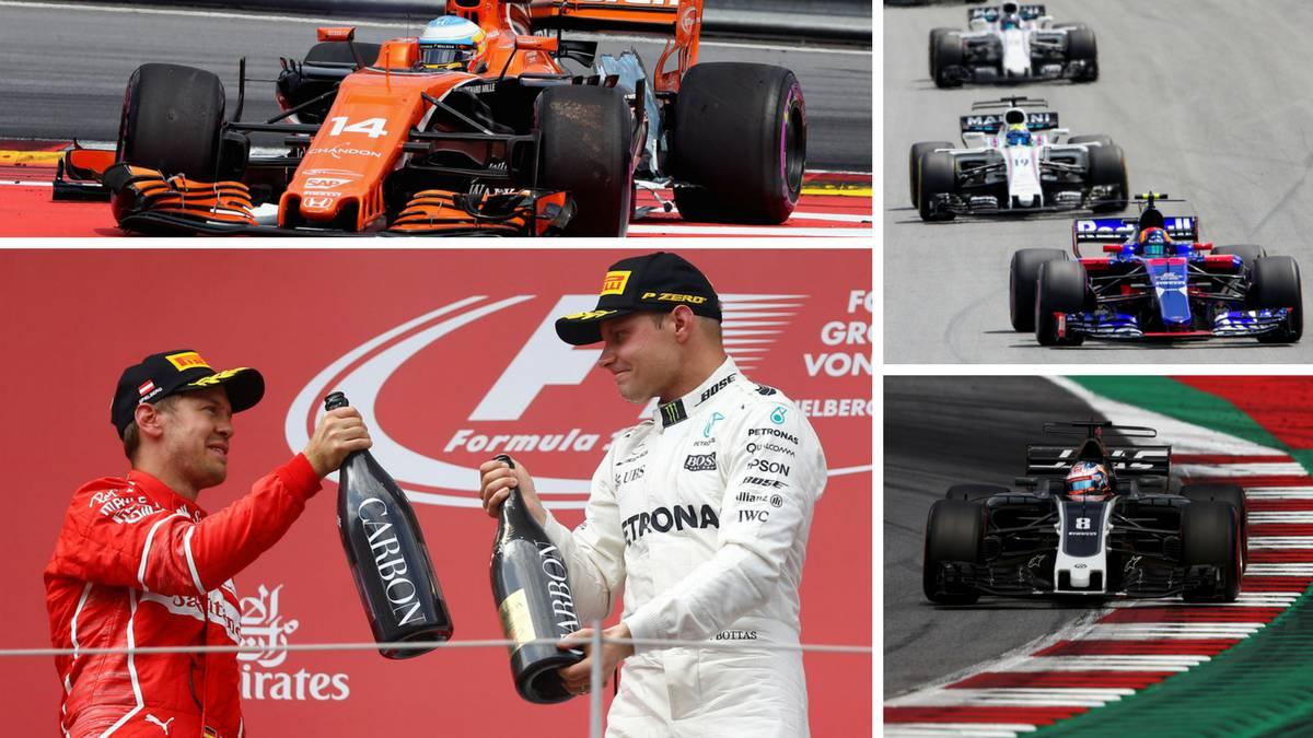 Bottas y Vettel en el podio de Austria, Alonso, Sainz, los Williams y Grosjean.