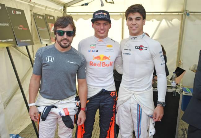 Alonso, Verstappen y Stroll.