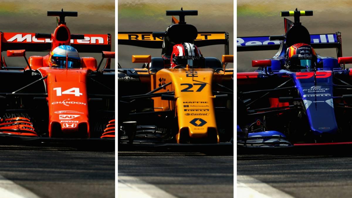 Alonso en el McLaren, Hulkenberg en el Renault y Sainz en el Toro Rosso en Monza.