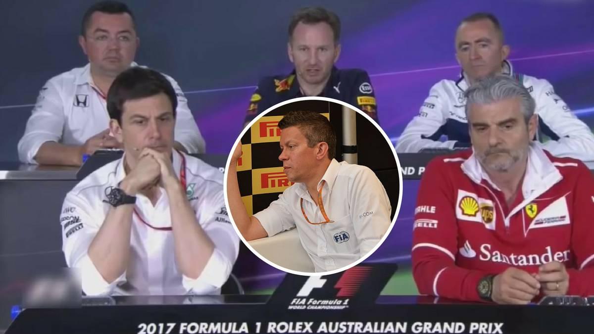 Boullier, Horner, Lowe, Wolff, Arribavene y Marcin Budkowski, ex de la FIA.