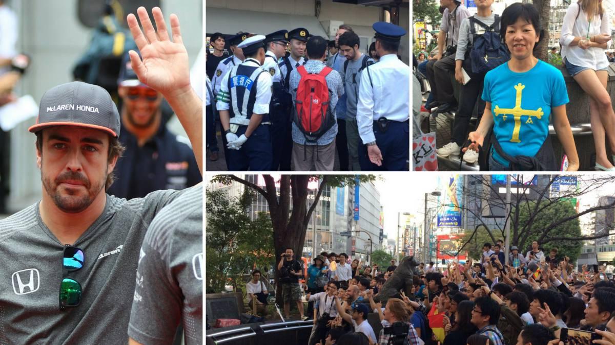 Aficionados de Alonso en Tokio.
