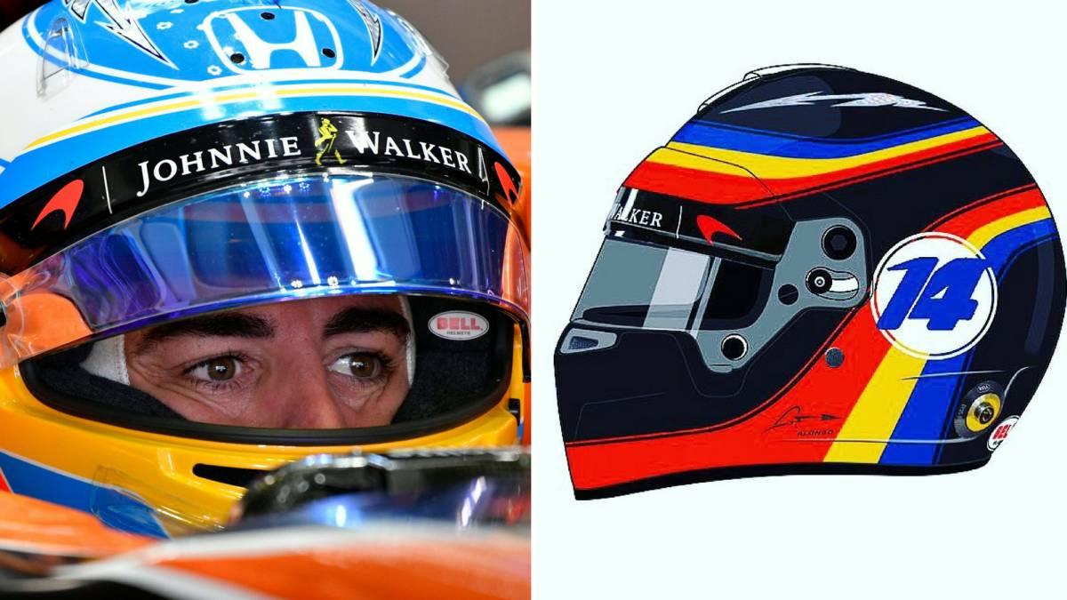 El casco que Fernando Alonso utilizará en el GP de Estados Unidos.