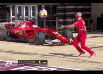 Vettel has a shocker and nearly runs over Ferrari mechanic