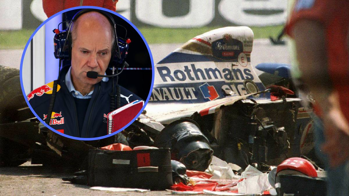 Adrian Newey y el Williams FW16 destrozado de Ayrton Senna.