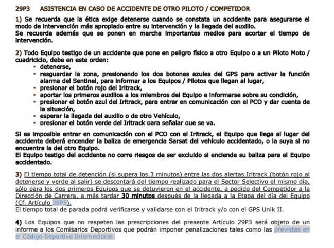 Reglamento del Dakar.