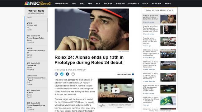 Noticia de la participación de Alonso en Daytona de la NBC.