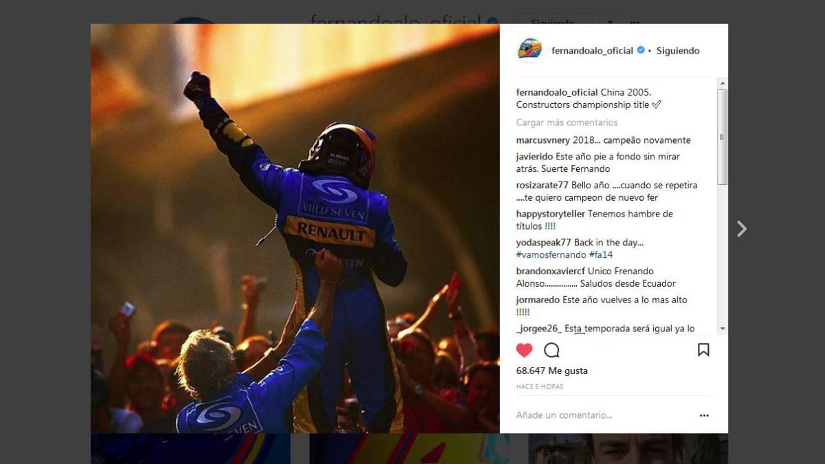 Alonso y Renault en Instagram.