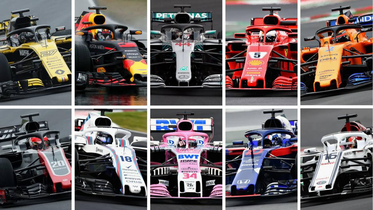 Los diez coches de F1 de 2018.