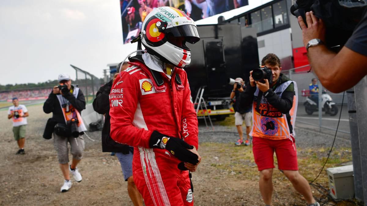 Sebastian Vettel tras abandonar en Alemania.