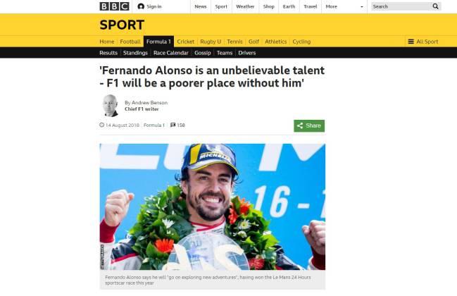 """""""Alonso es un talento increíble, la F1 será un lugar peor sin él""""."""