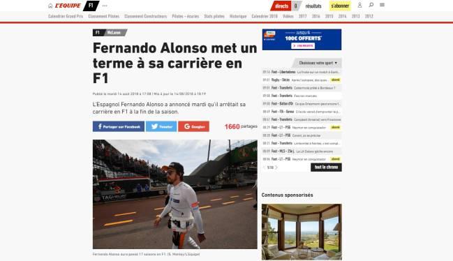 """""""Fernando Alonso termina su carrera en la F1""""."""