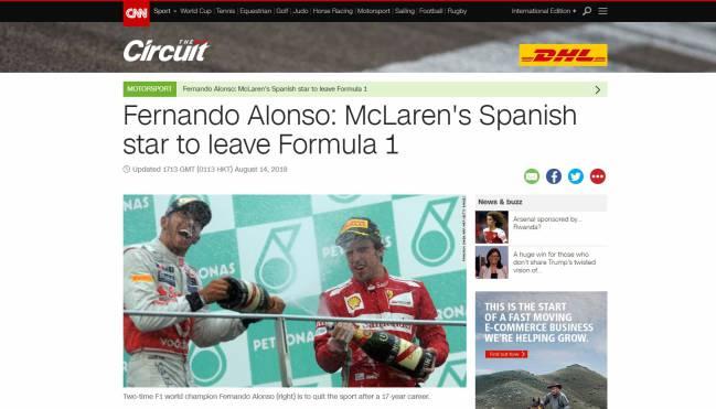 """""""Fernando Alonso: la estrella española de McLaren dejará la F1""""."""