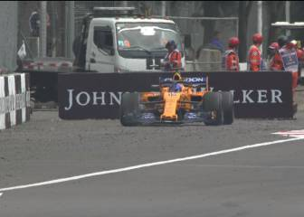 Alonso abandona con un trozo de Force India en su McLaren