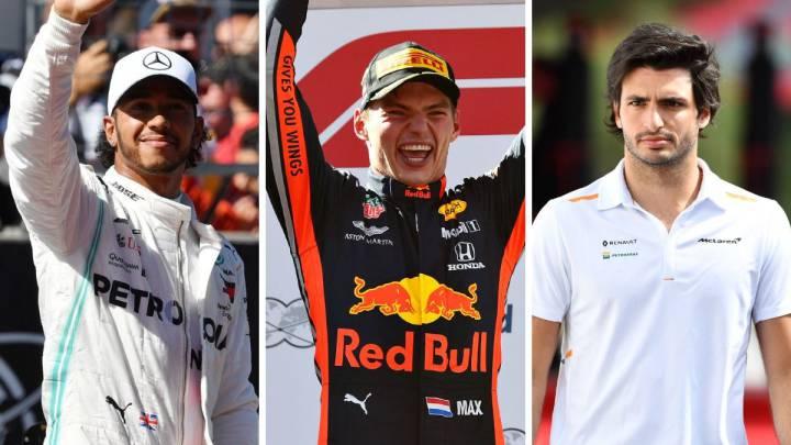 Hamilton, Verstappen y Sainz.