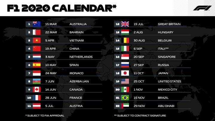 Formula 1 Calendario.La F1 Publica El Calendario De 2020 Con Record De Carreras