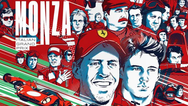 El cartel conmemorativo de Ferrari.
