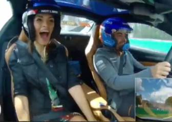 Fernando Alonso takes his girlfriend for a spin