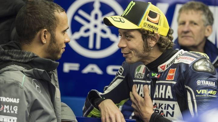 Rossi probará el Mercedes F1 y Hamilton la Yamaha de MotoGP